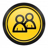 forum icon, yellow logo, people sign