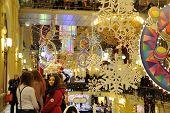 Christmas Illuminations, Decorations And Girls