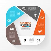 Vector circle pentagon infographic. Template for diagram, graph, presentation and chart. Business co