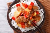 Rice Noodles With Pork Meat In Sweet And Sour Sauce  Top View