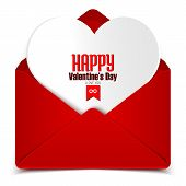 Valentine's Day Postcard, Vector Illustration Of Red Envelope With White Heart In It