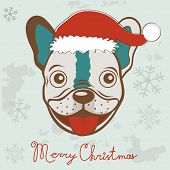 Christmas card with French bulldog