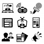set of 9 black and white news icons