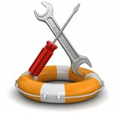 Tools and Lifebuoy (clipping path included)