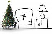 Christmas tree against living room sketch