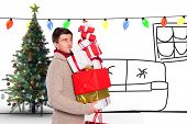 Young man with many christmas presents against living room sketch at christmas
