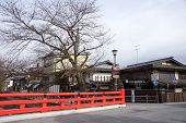 TAKAYAMA, JAPAN - DECEMBER 3, 2014: Clean air, low rise buildings and clean streets is a common find in Japan. Strong environmental laws keeps the nation clean and green.