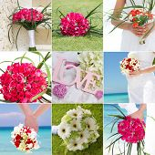 collage set of wedding bouquets, collection