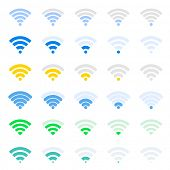 Vector wireless icons set with dynamic indicators.