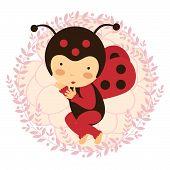 Beautiful ladybug baby card