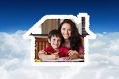 Happy mother helping his son for homework against bright blue sky over clouds
