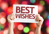 Best Wishes card with colorful background with defocused lights