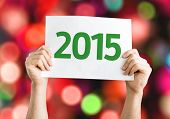 2015 card with colorful background with defocused lights