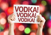 Vodka! Vodka! Vodka! card with colorful background with defocused lights