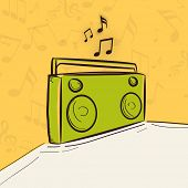 Radio in green color with musical notes on stylish background.
