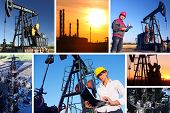 picture of oilfield  - Young workers in an oil field - JPG