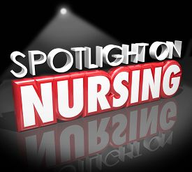 picture of rn  - Spotlight on Nursing words in 3d letters to illustrate information on working as a nurse in a job or career in the health care or medical field - JPG