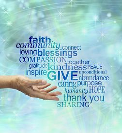 foto of compassion  - Female hand gesturing to give surrounded by a word cloud associated to giving on a blue sparkly ethereal background - JPG