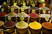 foto of spice  - Spices are displayed in Spice Bazaar Istanbul Turkey - JPG