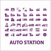 Постер, плакат: auto station car services car washing icons signs illustrations set vector