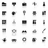 stock photo of fibonacci  - Art activity icons with reflect on white background stock vector - JPG