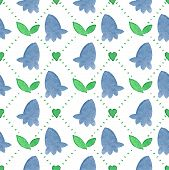 image of harebell  - Seamless watercolor pattern with bluebells on the white background - JPG
