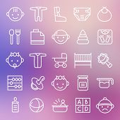 picture of teats  - Baby icons set in thin line style - JPG