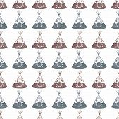stock photo of teepee tent  - Watercolor seamless pattern with teepee on the white background - JPG
