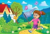 image of chase  - Girl chasing butterflies theme image 3  - JPG
