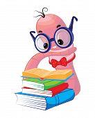 stock photo of bookworm  - Funny bookworm reading - JPG