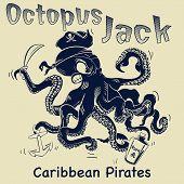 stock photo of octopus  - octopus cartoon vector illustration - JPG