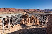 foto of old bridge  - The new and the old Navajo Bridges side by side over the Colorado River by Lee - JPG