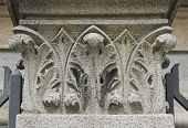 picture of building relief  - Detail of traditional stone art on bas relief on Nossa Senhora Auxiliadora Catholic Church in Sao Paulo Brazil - JPG