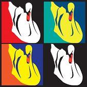 image of interpreter  - stylized vector illustration of swans in different color interpretations - JPG