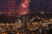 stock photo of portland oregon  - View of Portland Oregon USA from Pittock Mansion during a Fireworks Show - JPG