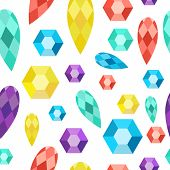 picture of precious stone  - Vector seamless pattern precious stones gems diamonds crystals - JPG