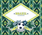 image of brazilian carnival  - Vector frame with traditional Brazilian football theme - JPG