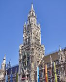 picture of bavaria  - the tower of the town hall Munich Bavaria Germany - JPG
