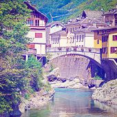 pic of italian alps  - View of the Medieval City of Rassa in Italian Alps Retro Effect - JPG