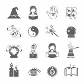 picture of fortune-teller  - Fortune and future teller black icon set with magic symbols isolated vector illustration - JPG