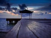 stock photo of jetties  - Small jetty on an atoll in Maldives - JPG