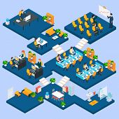 stock photo of isometric  - Multistory office isometric with business people and interior 3d icons vector illustration - JPG
