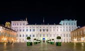 picture of turin  - Royal Palace of Turin at night  - JPG