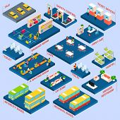 pic of toilet  - Bus station concept with isometric waiting baggage room toilets and cafe icons vector illustration - JPG