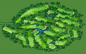 image of hazardous  - Golf course layout with flags trees plants water hazards - JPG
