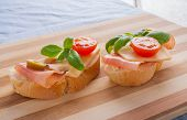 image of smoked ham  - small sandwiches with smoked ham cheese and cherry tomato - JPG