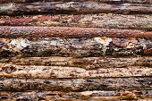 image of log fence  - background fence from pine logs close up - JPG