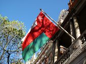 foto of oman  - Flag at an embassy of the Islamic state of the Sultanate of Oman - JPG