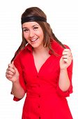 foto of woman red blouse  - young woman laughs merrily - JPG