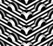 pic of hemisphere  - Striped 3D Hemisphere Hills Vector Seamless Pattern Background - JPG